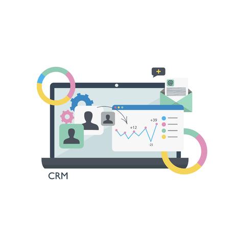 CRM。顧客関係管理。ノート パソコン テーブルとグラフ。フラットのベクトル図  イラスト・ベクター素材