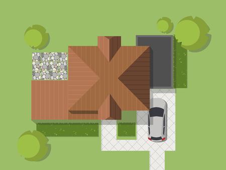 Widok z góry na kraj z domem, dziedzińcem, trawnikiem i garażem. Widok z góry na dom. Ilustracja wektorowa. Ilustracje wektorowe