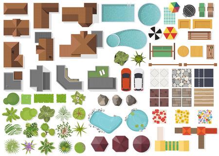 Conjunto de elementos de paisaje, vista superior.Casa, jardín, árbol, lago, piscinas, banco, mesa. Conjunto de símbolos de paisajismo aislado en blanco Ilustración de vector