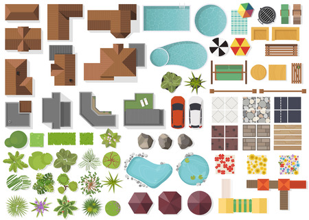 Set Landscape elements, top view.House, garden, tree, lake, swimming pools, bench, table. Landscaping symbols set isolated on white Imagens - 81733275