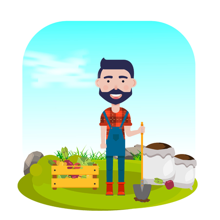 Farmer with shovel, vegetables and fertilizers. Vector illustration