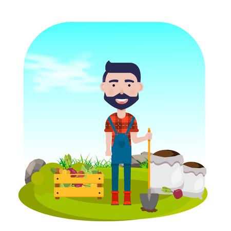 Granjero con pala, verduras y fertilizantes. Ilustración vectorial