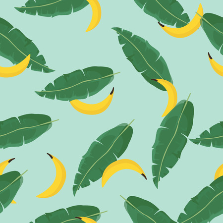 Seamless vector summer pattern with Tropical Palm Leaves and bananas.Vector. Exotic Texture. Floral Wallpaper.  イラスト・ベクター素材