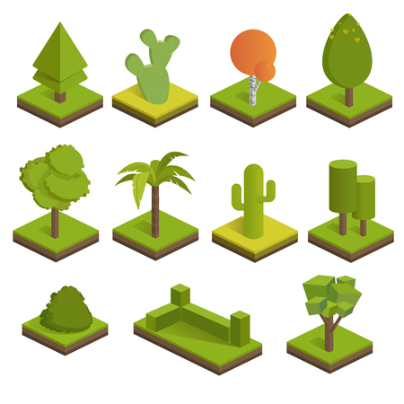 Set isometric 3d trees.Big and small trees, bush, palm tree, cactus, spruce.Vector icons for isometric maps, games and your design. Illustration