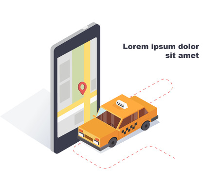 Online mobile taxi service service concept in isometric 3D transportation of passengers in the taxi.