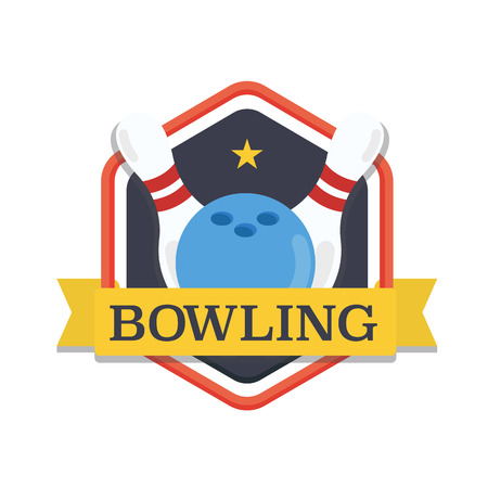 Bowling logo, design template, emblem tournament template. Skittles and ball with ribbons. Ilustração
