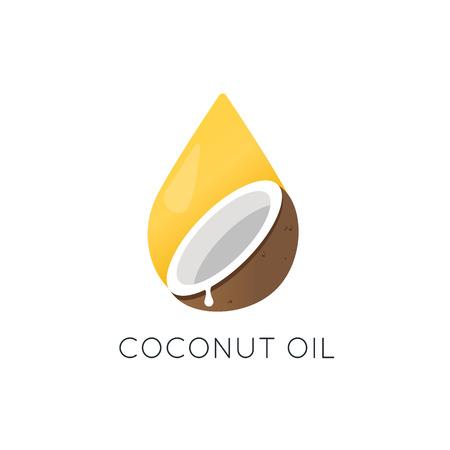 Logo vectoriel d'huile de noix de coco. Élément de design d'emballage et icône Banque d'images - 84925028