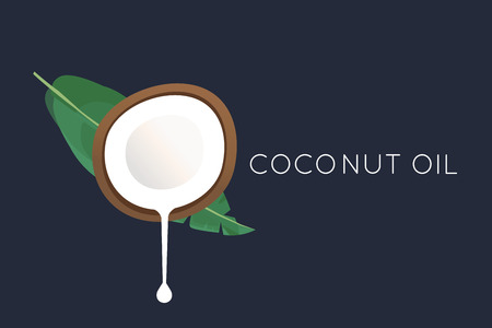 Coconut logo. Half of the coconut with flowing milk and a palm leaf. Vector illustration Illustration