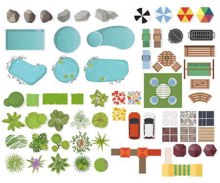 Stel landschapselementen, bovenaanzicht. Tuin, boom, meer, zwembaden, bank, tafel. Landschapsymbolen, Buitenmeubelset geïsoleerd op wit