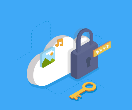 Cloud Identity Security Concept, data protection, internet security. Vector 3d isometry illustration 向量圖像