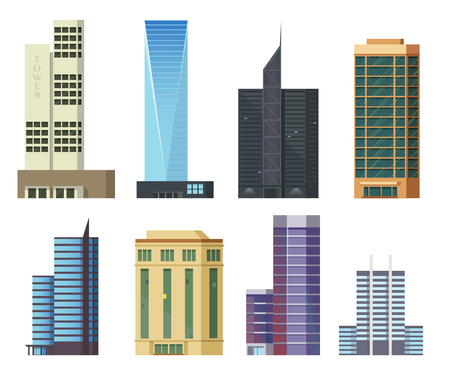 Set of icons skyscrapers.Buildings and modern city houses, flat illustration Illustration