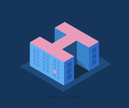 Conceptual vector logo of the Hostel.Illustration in a minimalist style, building of a hostel or hotel in the form of a letter H. Illustration