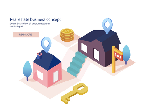 Real estate business concept with houses. House for sale, installment sale, credit, rent. The best location, Vector illustration