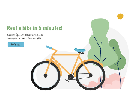 Bike rental. Travel and tourism concept background with bicycle. Web banner for bicycle renting Illustration