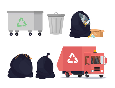 Waste recycling icons set. Sorting, transporting process of garbage, trash can. Vector illustration