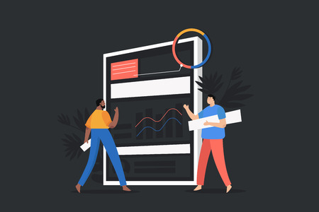 Planning and organization concept banner with characters. Two men make plan.Presentation business strategy performance concept. Flat isometric vector illustration Illusztráció