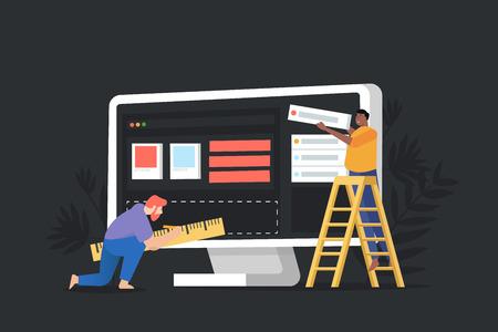 Concept website under construction, web page building process. Modern vector illustration web page design for website.