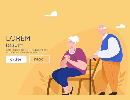 Happy elderly couple on a park bench. San men standing with sticks. Old age. Grandfather And Grandmother Flat Vector Banner