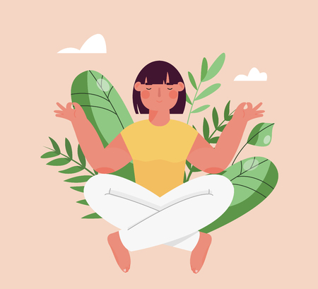 Girl sitting in the lotus position. Mental health for women. The concept of meditation, self-improvement, ecology, communication with nature  イラスト・ベクター素材