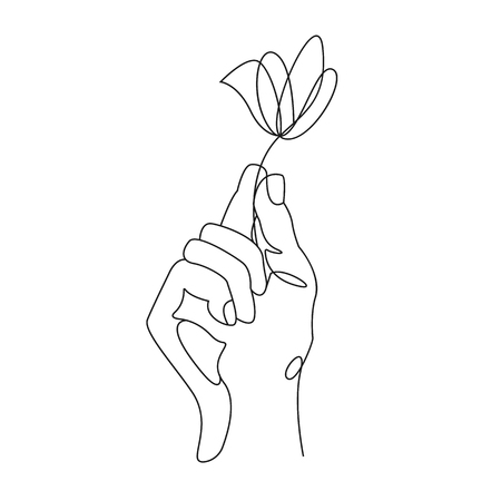 Continuous line drawing. Hand holding flower. Vector illustration  イラスト・ベクター素材