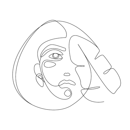 Continuous line. Woman face with tropical leaf. Portrait minimalistic style illustration for t-shirt, design print