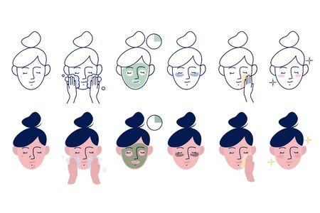 Chica cuida su rostro. Instrucciones para el cuidado facial. Mascarilla cosmética paso a paso. Conjunto de ilustración vectorial lineal y plana