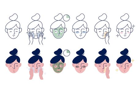 Girl take care about her face. Instructions for facial care. Step By Step Cosmetic Mask. Set of linear and flat vector illustration