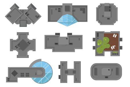 Widok z góry domów i drapaczy chmur Zbiór elementów architektonicznych
