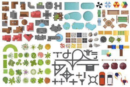 Establecer elementos de paisaje, vista superior. Casa, jardín, árbol, lago, piscinas, banco, camino, autos, gente. Conjunto de símbolos de paisajismo aislado en blanco