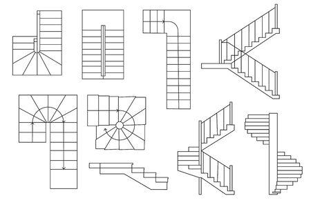 Salva Scarica l'immagine per l'anteprima Disegno di scale, scalinata. . Vista dall'alto e vista in sezione. Set architettonico