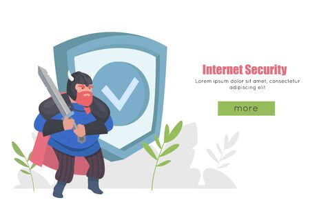 Internet security isometric concept. Data protection. Privacy Protection, Antivirus hack. Warrior with a sword protects data. Web banner, infographics, hero images.  イラスト・ベクター素材