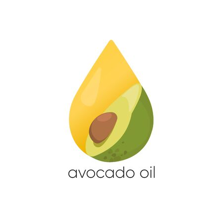Avocado oil vector . Packaging design element and icon. Healthy vegan food.  イラスト・ベクター素材