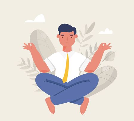 Businessman meditation in office. Man doing yoga. The concept of relaxing in lotus position. Calm at work, Stress relief. Vector illustration in cartoon style Ilustração