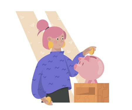 Young woman saving money in piggy bank. Concept of financial planning, money managing and saving.  イラスト・ベクター素材