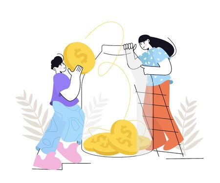 People Saves Money. Man and woman put gold coins in a glass jar. Saving dollar coin in moneybox. Growth, income, savings, investment. Symbol of wealth. Cash Savings.  イラスト・ベクター素材