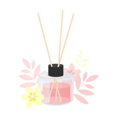 Aroma diffuser. Glass jar with aroma sticks with flowers and plants. Isolated vector illustration