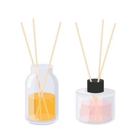 Aroma diffuser set. Two glass jar with aroma sticks. Isolated vector illustration