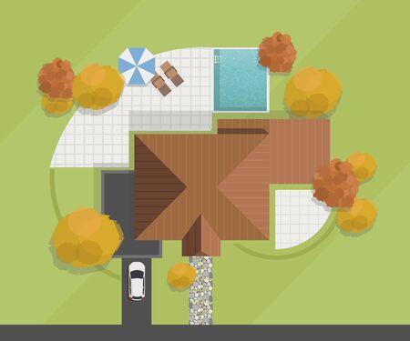 Vista dall'alto di una casa. Casa privata con piscina, cortile, prato e garage. Illustrazione vettoriale
