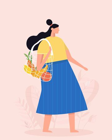 Girl is holding string bag with vegetables and fruits. Shopping with eco bag. Zero waste, vegetarianism, environment preservation, ecology protection concept