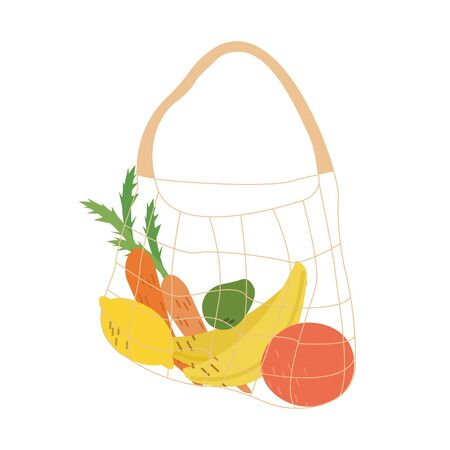 String bag full organic vegetables and fruits. Shopping with eco bag, mesh or net bag. Zero waste concept. Isolated vector illustration in flat cartoon style.