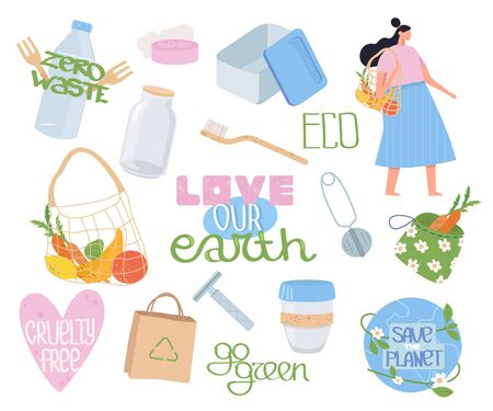 Collection of ecology, zero waste objects, lettering and people. Set reusable items or products. No plastic. Go green. Flat cartoon vector illustration.  イラスト・ベクター素材
