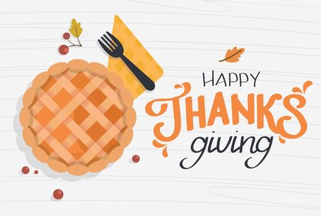 Happy Thanksgiving calligraphy text. Festive quote with a pumpkin pie. Vector calligraphy lettering holiday quote  イラスト・ベクター素材