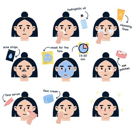 Girl take care about her face. Step by Step Instruction How To Facial Care Face. Set of flat vector illustration  イラスト・ベクター素材