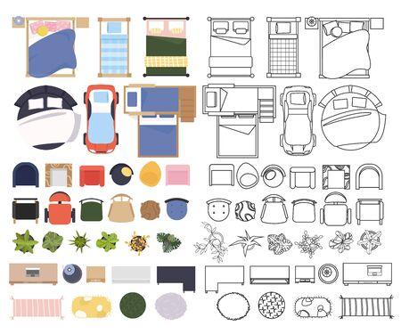 Stel interieurelementen in, bovenaanzicht. Meubilair en elementen slaapkamer. Bed, stoel, tafel, fauteuil. Verzameling van lineaire en gekleurde platte illustratie