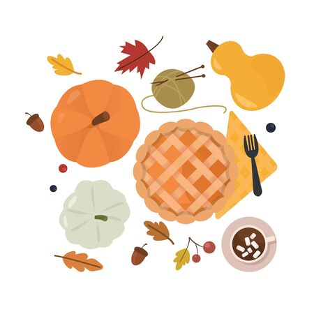 Autumn mood. Set of season attributes: pumpkins, pie, cocoa, and leaves. Decorative design elements isolated on white.