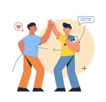 Refer a friend concept, a team work. Two man giving a high five. Referral marketing concept, promotion method for ui, web, mobile app, poster  イラスト・ベクター素材