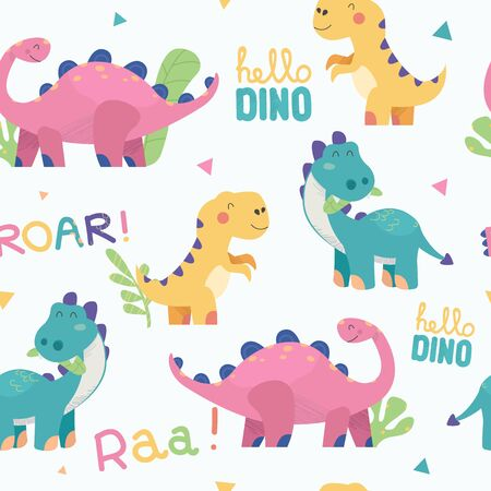 Seamless pattern with cute hand drawn dinosaurs. Funny vector childish background for fabric, textile, cards, invitations. Ilustrace