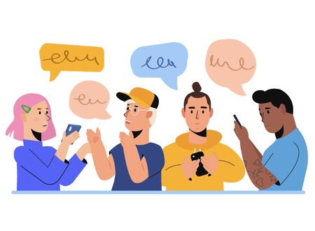 People Characters Chatting Using Smartphone. Friends Discuss Social Network And Texting. Group of Man and Woman with Mobile Phones, Dialogue Speech Bubbles. Flat vector illustration  イラスト・ベクター素材