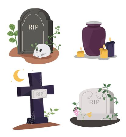 Set of tombstones on the grave. Collection of monument shape with rip text and funeral urn. Vector illustration on a white background.