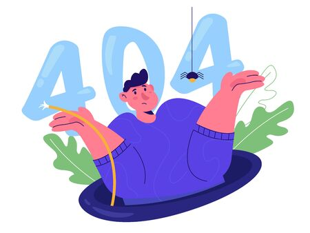 Page Not Found, website maintenance or error 404. A man shrugs and looks out of the pit. Flat vector illustration modern character design.